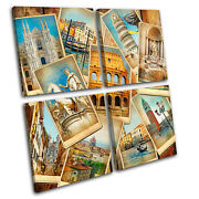 Italy Collage Vintage Multi Canvas Wall Art Picture Print Va