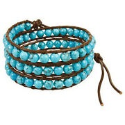 New Silver And Leather Wrap Bracelets Available Turquoise Agate Crystal Howlite