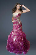 Pink Leopard Mermaid Beaded Formal/evening/prom/ball/bridesmaid Gown Au18/us16