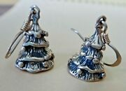 Sterling Silver 3d 17x11mm Cute Christmas Tree Charms On 15mm Wire Earrings