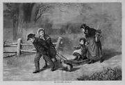 Sleigh Ride Children Pulling The Snow Sled Dog Vintage Countryside Engraving