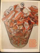 1966 Coca-cola Red And White Diamond Soda-pop Feather Touch Can Vintage Coke Ad