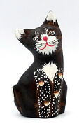Wooden Cat Hand Carved Painted Red Nose Bali Art Home Decor Statue 95 Cm
