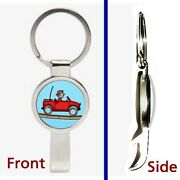 Hill Climb Racing Red Jeep Pennant Or Keychain Silver Tone Secret Bottle Opener