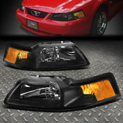 For 99-04 Ford Mustang Black Housing Amber Corner Headlight Replacement Lamps