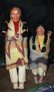 2 Skookum Bully Good Native American Indian 17 1/2 Chief Squaw / Papoose Baby