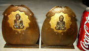 X Rare Hand Hammered Copper Arts And Crafts Buddha Bust Bookends Roycroft Mission