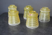 5 Antique Art Deco 2 Tone Vaseline Style Green To Clear Lamp Shades 6831