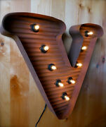 Lg Brown Vintage Style Light Up Marquee Letter V, 24 Tall Metal Rustic Sign