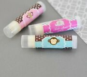 144 Personalized Baby Animal Theme Flavored Lip Balm Tubes Baby Shower Favors
