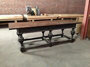 Oak Antique Trestle Table With Ornate Legs And Heavy Carving