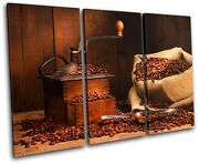 Coffee Grinder Beans Food Kitchen Treble Canvas Wall Art Picture Print Va