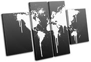 World Atlas Funky Cool Maps Flags Multi Canvas Wall Art Picture Print Va