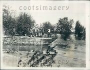 1929 Men On Barge Salvage Work Mississippi River Flood Quincy Il Press Photo