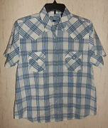 New Womens Shyanne Pearl Snap Blue And White Plaid Shirt Size M