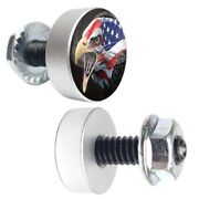 2 Silver Motorcycle Bald Eagle License Plate Frame Fasteners Tag Bolt Screws