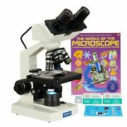 Omax 40-2000x Compound Led Microscope 1.3mp Camera +book+blank Slides+lens Paper