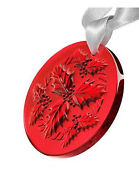 Lalique Crystal 2014 Annual Christmas Ornament Holly Red 6cm Diameter 10413300