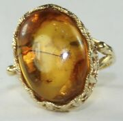 Vintage 14k Gold Amber With Fly Bug Insect Ring Size 6