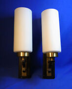 Pair Mid Century 70andacutes German White Glass Wall Lamps Sconces O/b