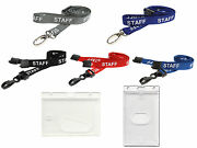 Staff Lanyard Neck Strap And Secure Enclosed Id Card Photo Pass Badge Holder Nhs