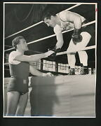Rocky Graziano And Roy Wouters Handshake Before Bout 1952 Press Wire Photo