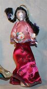 Hand Painted Indian Princess Christmas Ornament Blown Glass Feather Rare Italy