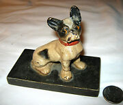Antique Hubley Usa Toy Frenchy Dog Cast Iron Desk Art Paperweight Bulldog Statue