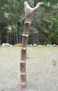 Antique Tribally Used Dogon African Wooden House Granary Ladder Iron Mount Mali