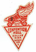 1940s Roller Skating Label Convention Hall Roller Rink Buckeye Lake Ohio