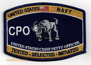 Us Navy Chief Petty Officer Cpo Hat Patch Uss Tested Selected Initiated Pin Up