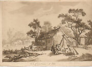 1760 Watercolor Of Family Cooking By House Le Cuisine D' Ete By Leprince