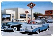 Chevy Olds Dx Station Metal Sign 34 Cabin Man Cave Home Garage Store Shop Decor