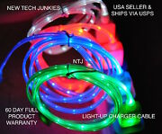Ntj Lot 100 Pieces Led Light-up Data Sync Charger Power Cable For Smart Phones