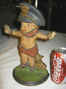 Antique Usa Police Boy Badge Whistle Dog Cast Iron Statue Doorstop Hubley Pa Toy