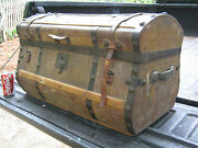 Antique Usa Country Primitive Jenny Lind Stagecoach Wood Hardware Trunk Table Us