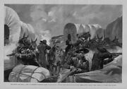 Indians Attack Wagon Train Near Wounded Knee Creek South Dakota Teamsters Fight