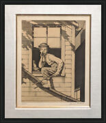 Norman Rockwell Out The Window Sepia 1976 | Tom Sawyer | Rare Signed Print