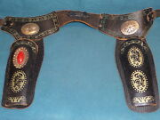 Vintage Toy Cap Guns Gun Holsters Leather Belt And Two Holsters No Toy Guns