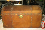 Antique Primitive American Country Dome Wood Trunk W Iron Brass Hardware Table