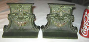Antique Cjo Judd Arts And Crafts Mission Cast Iron Garden Flower Arch Bookends