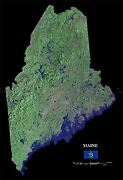 Map County Satellite Usa State Flag Maine Old Large Replica Poster Print Pam1375