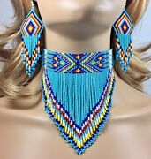 Native Beaded Turquoise Blue Handcrafted Choker Necklace Hook Earrings Set S18/6