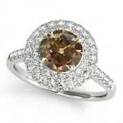 1.35 Cts Champagne Brown And White Diamonds 14k White Gold Deal Double Halo Ring