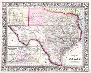 Map Antique 1864 Mitchell Texas State Counties Large Repro Poster Print Pam1841