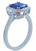 14k White Gold Cushion Cut Sapphire And Diamond Deco Antique Style Ring 3.00ctw