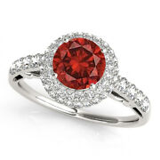1.57cts Cherry Red Color Diamond Ring White Halo 14k Gold Valentineday Spl.sale