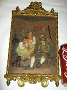 Antique Bradley Hubbard Family Cast Iron Hunting Wall Art Plaque Bh Dog Painting