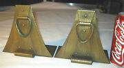Antique Mission Arts And Crafts Roycroft Hammered Tooled Copper Desk Book Bookends