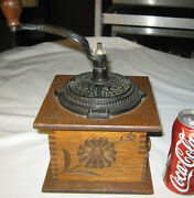 Antique Primitive Carved Wood Flower And Bird Art Cast Iron Coffee Mill Grinder
